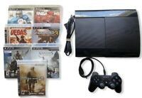 Sony PS3 Super Slim 500 GB Console Bundle + 1 Controller + 7 Games-FAST SHIPPING