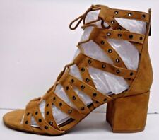 Jessica Simpson Size 7 Honey Brown Leather Sandals Heels New Womens Shoes