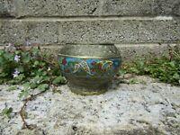 Antique Asian Japanese cloisonne enamelled bronze censer or small pot