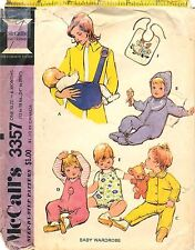 Vintage 1972 McCall's # 3357 Sewing Pattern Baby Wardrobe Factory Folded Uncut