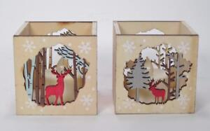 Wood Candle Holder Deer & Tree Cut Out with LED Candle Rustic Cabin Decor Set 2
