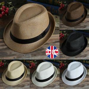 UK Unisex Foldable Ladies Straw Beach Sun Summer Hats Beige Wide Brim Summer Hat