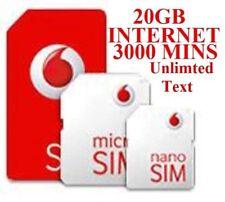 NEW Vodafone Pay As You Go PAYG - Standard, Micro & Nano Sim Card 20GB OFFER