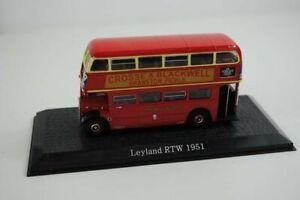 Leyland RTW 1951bus Atlas Édition 1/72 bleu + fiche explicative neuf scellé