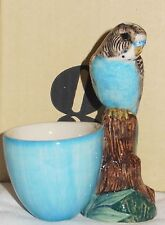Quail Pottery Blue Budgierigar with Egg Cup