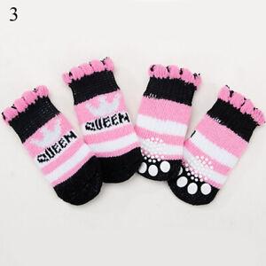 4pcs Warm Puppy Dog Shoes Soft Pet Knits Socks RED Cartoon Anti Slip Socks US