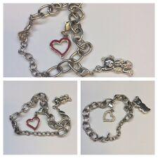 BRACELET SWAROWSKI with Charms Anhänger Heart and Teddy Bear Fashion Jewellery