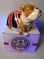 BULLDOG FIGURE RED / WHITE BULLDOG MONEY BOX , GREAT BRITAIN UNION JACK GIFT