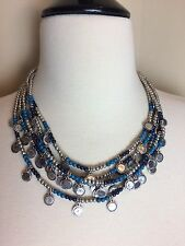 "19-23"" Long CHICOS Navy & Teal Silver Tone Beaded 5-Strand Necklace EUC Signed"