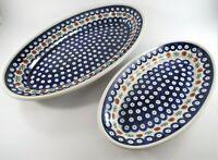 Set of 2 Boleslawiec Poland Zaklady Ceramic Oval Serving Dishes Mosquito Pattern