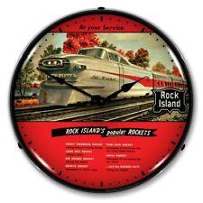 Nostalgic Vintage Style Rock Island Rockets Sign Backlit Led Lighted Wall Clock