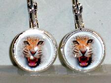 Ohrringe Leopard Tiere Damen Ohrschmuck Modeschmuck Leverback Glas Cabochon 12mm