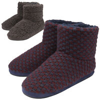 DUNLOP - Mens Warm Indoor Memory Foam Furry Sherpa Ankle Boot Slippers