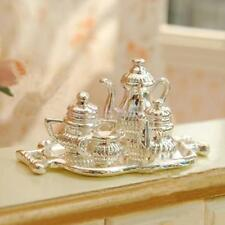 Traditional Silver Tea Coffee Set Tableware for 1/12 Dolls House Mini Accs