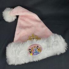 Disney Pink Princess Santa Hat Christmas Holiday Sz Youth Plush Cap Crown White