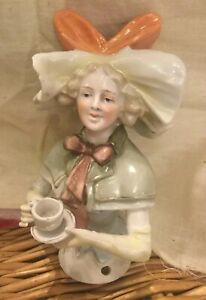 Antique German Large Tea Drinking Half Doll With Hat