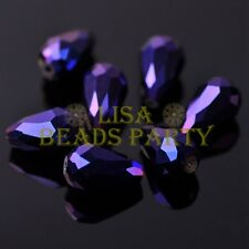 New 20pcs 16X10mm Faceted Teardrop Crystal Glass Spacer Loose Beads Metal Purple