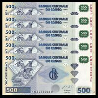 Lot 5 PCS, Congo 500 Francs, 2013, P-96b, UNC