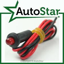 12v SOLID Red LED Warning Light with Flying Leads (12 Volt Dash Indicator Lamp)