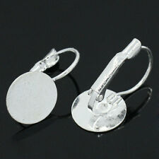 20 Boucles d'oreille Support avec Plateau Argenté 22x12mm B26460