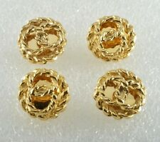 Vintage BUttons Gold PLated Metal Pretzel KNot  Sewing Buttons  Set of 4