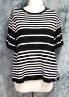 Postmark Anthropologie Womens sz M Black White Striped Short Sleeve Top