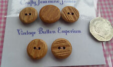 5 Brown Textured Wood-look Vintage Buttons (1 Shank 4 two hole) 18-22mm Sewing