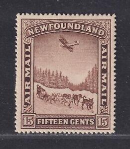 Newfoundland Canada Scott C9 VF LH 1931 15¢ Airmail Dog Sled & Airplane w/ Wmk