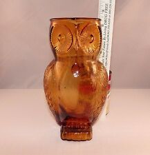 "Vintage Glass Owl Shaped Amber Handled Pitcher Vase Nice!! 8 1/2"" Tall"