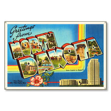 State of North Dakota Nd Postcard Metal Sign Wall Decor Steel not tin 36x24