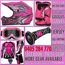 KIDS PEEWEE PINK MX DIRT BIKE SPROCK HELMET GOGGLE GLOVES JERSEY PANTS BOOTS KIT