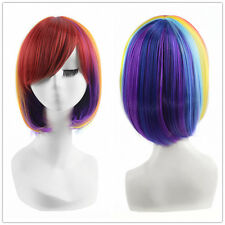 Multi Color Short Bob Straight Wig Heat Safe Rainbow Hair Cosplay Wigs