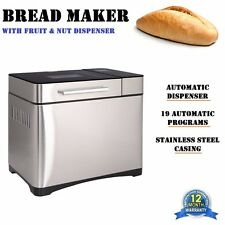 Stainless Steel Bread Maker w/ Fruit & Nut Dispenser + 19 Automatic Programs