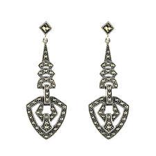 Esse Marcasite Sterling Silver Art Deco Drop Earrings BNIB