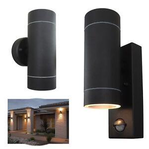 Metal Up Down IP44 Double Outdoor GU10 Security PIR Sensor Wall Light - BLACK