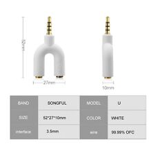 White Headset Adapter Kit U Shape 3.5mm Y Splitter for Audio Headphone and MIC
