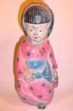 """VINTAGE 10"""" HAND CARVED & PAINTED WOODEN JAPANESE DOLL"""