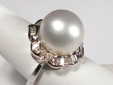 13mm white South Sea pearl ring, diamonds, solid 14k white gold.