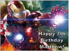 """IRON MAN Marvel Avengers Cake Topper Personalizzati Commestibili Wafer Carta 7.5"""" da 10"""""""