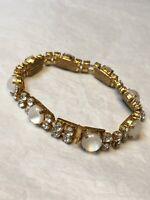 1950s Link Bracelet Vintage 1960s Moonstone Clear Glass Jewellery Clip Clasp