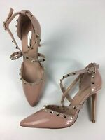 NEW WOMENS PRIMARK UK 5 EU 38 NUDE FAUX PATENT LEATHER GOLD STUD STRAPPY SANDALS