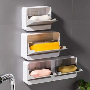 Creative Wall Mounted Soap Box With Lid Double Grids Soap Draining Rack Bathroom