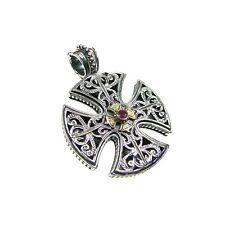 087e7d6f6ba0b3 Gerochristo: Handmade Maltese Cross Pendant Silver and 18k Solid Gold Ruby