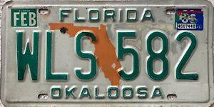 Florida Orange Map Okaloosa County  License Licence Number Plate WLS 582