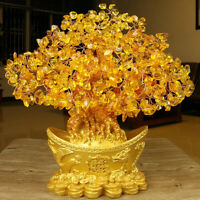 Yellow Feng Shui Crystal Gem Stones Fortune Tree Money Tree Wealth Blessing Gift