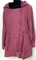 MELLODAY Lightweight Jacket Rose Pink Coat Bungee Pull Waist Roll Tab Sleeve L/P