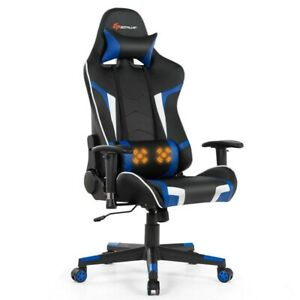 Massage Gaming Chair Reclining Swivel Racing Office Chair w/Lumbar Support