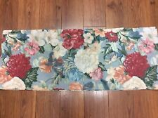 """FLORAL VALANCE BLUE REDS WHITE TERRA COTTA LARGE FLOWERS 72' X 14"""" COUNTRY FUN!"""