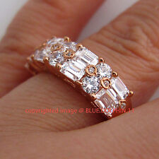 Luxury Real Genuine Solid 9k Rose Gold Engagement Wedding Ring Simulated Diamond