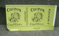 Vintage Coupon Cigarette Tobacco Packaging Label...Indian Chief Graphics